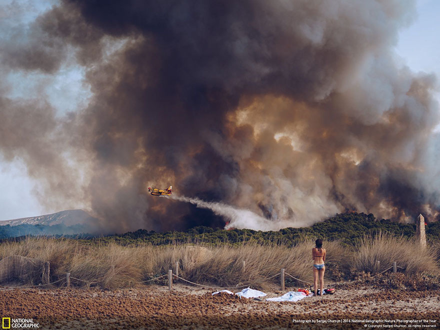 Honourable Mention, Environmental Issues: Wildfire at the beach