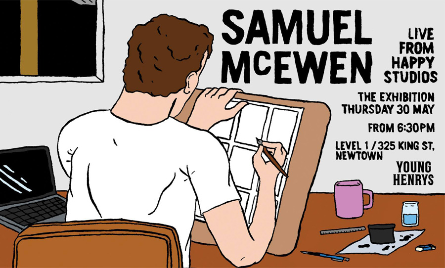 samuel mcewen live from happy studios comic exhibition